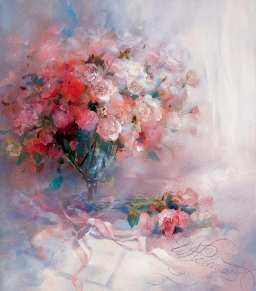 Romantic,woman,women,soft,pastel,Nature,Traditional,Botanical ,Figurative,Decorative,WH021,Bouquet of roses,Haenraets, Willem,Vertical