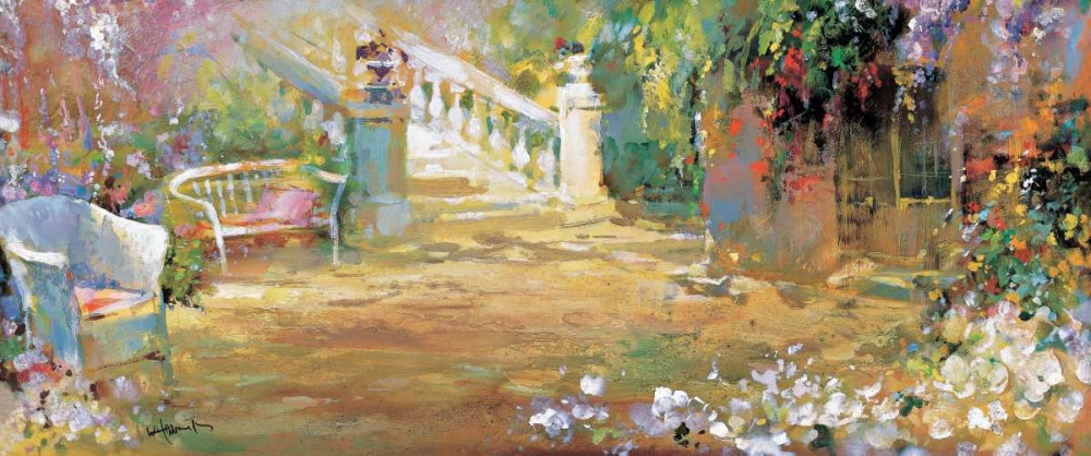 Romantic court,Haenraets, Willem,Horizontal,Gardenscene,floral,romance,Country French,European,Botanical,Contemporary,Decorative,,Contemporary,,WH120