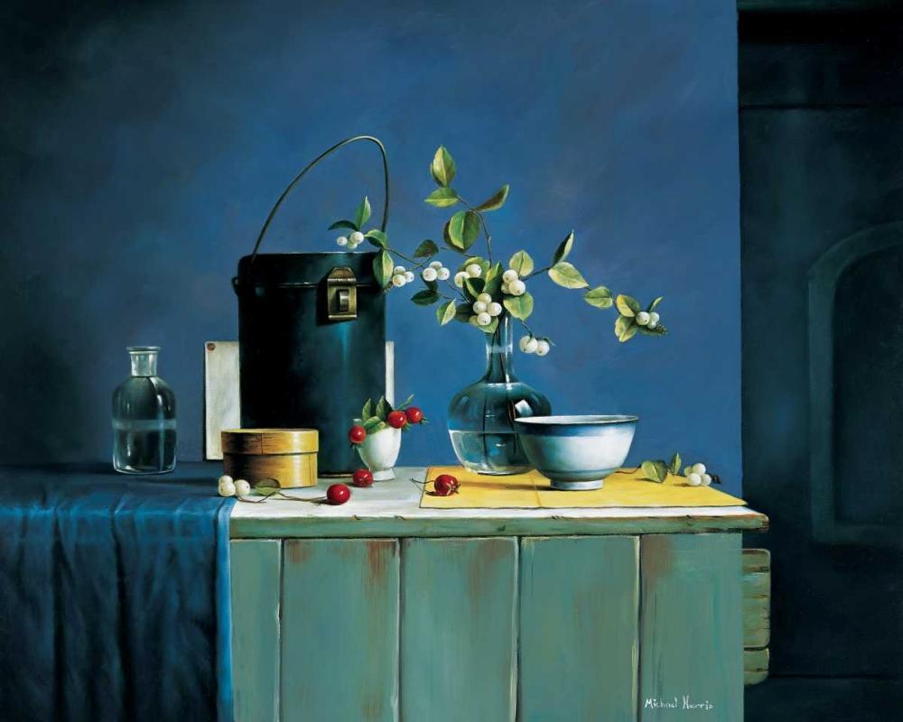 konfigurieren des Kunstdrucks in Wunschgröße Stillife in blue von Harris, Michael