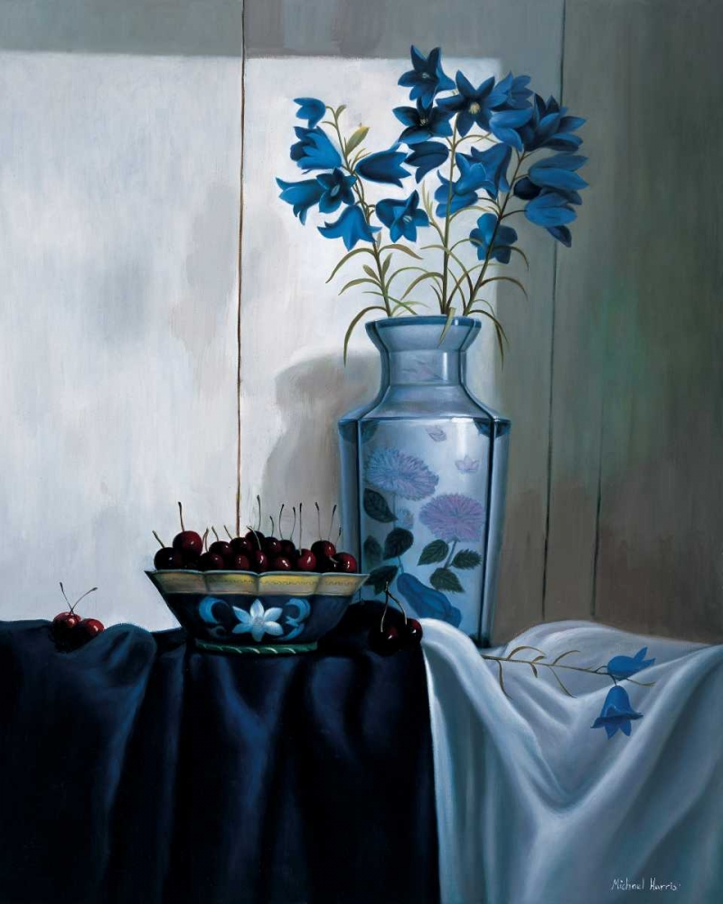 konfigurieren des Kunstdrucks in Wunschgröße Stillife in blue with cherries von Harris, Michael