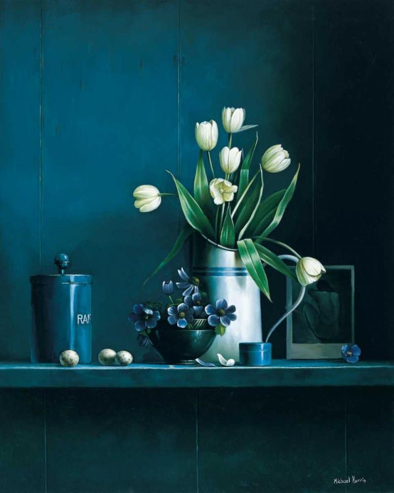 konfigurieren des Kunstdrucks in Wunschgröße Stillife in blue with tulips von Harris, Michael