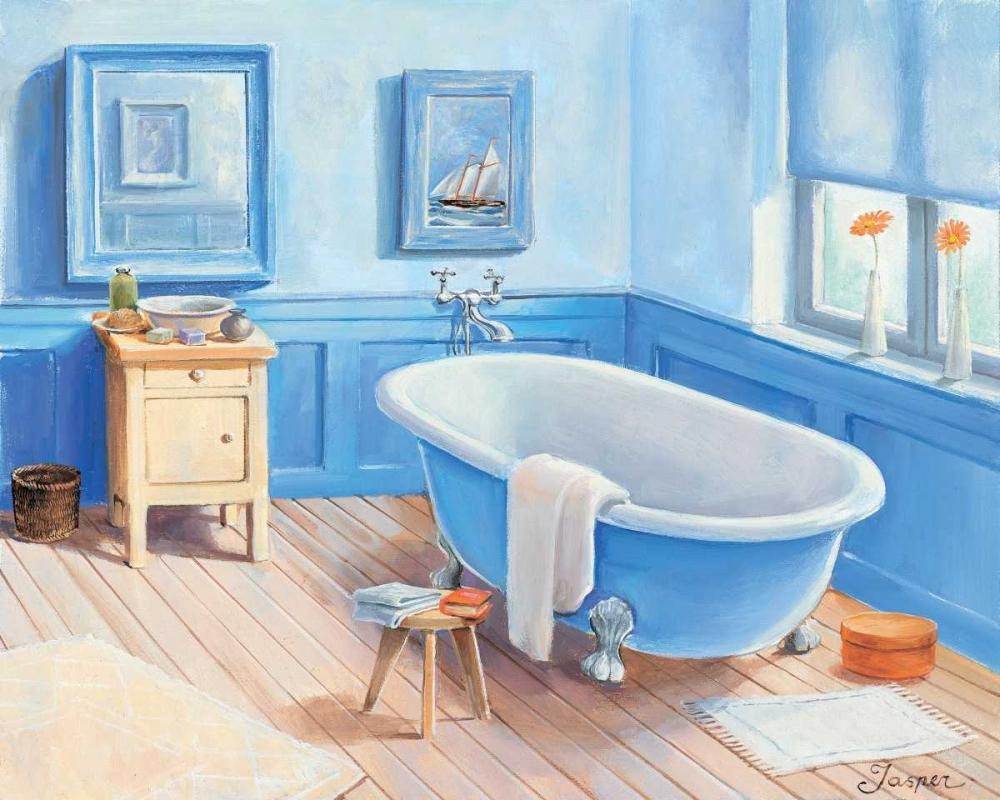 konfigurieren des Kunstdrucks in Wunschgröße Bathroom in blue I von Jasper