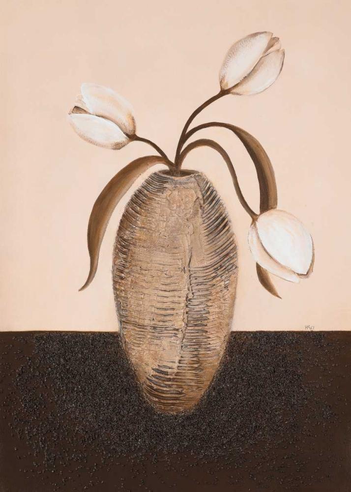 konfigurieren des Kunstdrucks in Wunschgröße Three white tulips I von Hedy