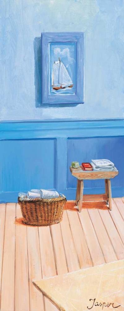 konfigurieren des Kunstdrucks in Wunschgröße Bathroom in blue II von Jasper