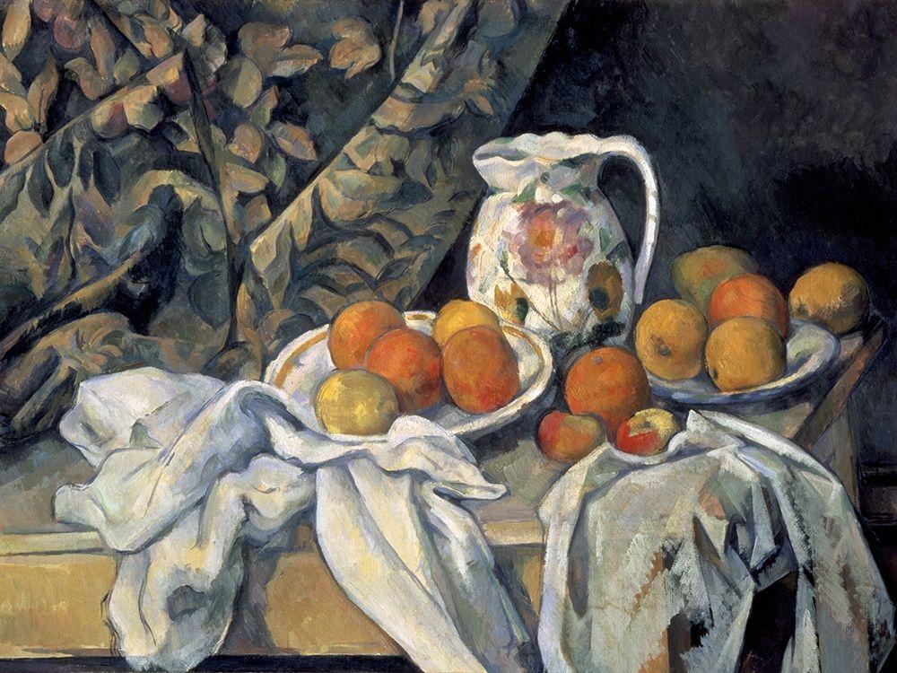 konfigurieren des Kunstdrucks in Wunschgröße Still Life with a Curtain and Pitcher von Cezanne, Paul