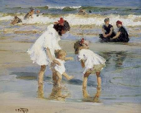 konfigurieren des Kunstdrucks in Wunschgröße Children Playing At The Seashore von Potthast, Edward Henry