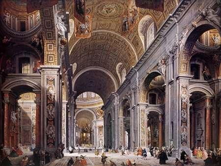 konfigurieren des Kunstdrucks in Wunschgröße Interior Of St. Peters, Rome von Panini, Giovanni Paolo