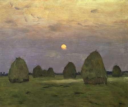 konfigurieren des Kunstdrucks in Wunschgröße Haystacks Twilight, 1899 von Levitan, Isaac
