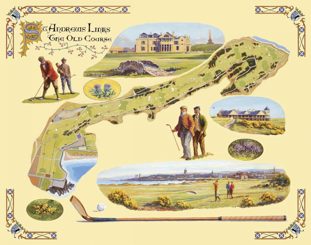 Golf Course Map-St. Andrews von Willington, Bernard <br> max. 142 x 112cm <br> Preis: ab 10€
