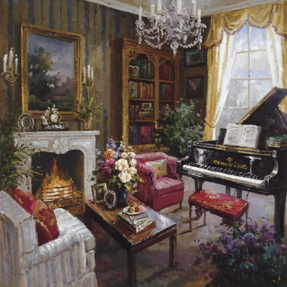 konfigurieren des Kunstdrucks in Wunschgröße Grand Piano Room von Foxwell