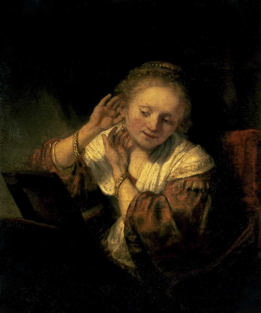 Young Woman Trying Earrings, 1654 von Rembrandt, van Rijen <br> max. 102 x 122cm <br> Preis: ab 10€