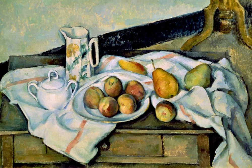 Still Life of Peaches and Pears von Cezanne, Paul <br> max. 122 x 81cm <br> Preis: ab 10€