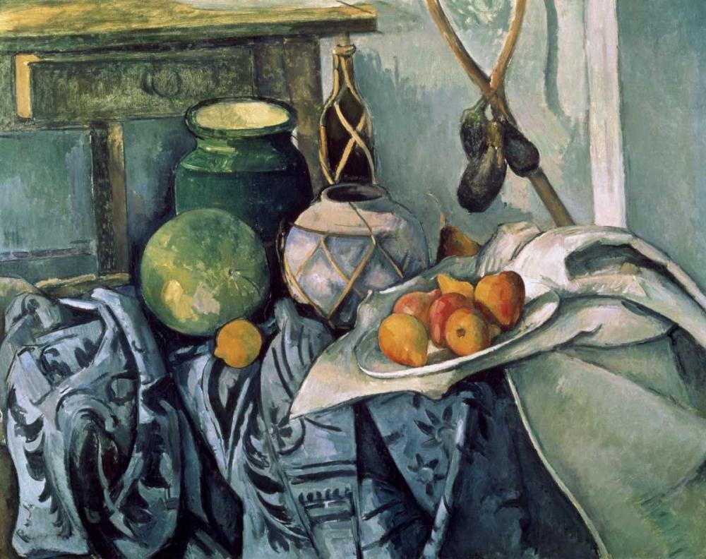 konfigurieren des Kunstdrucks in Wunschgröße A Still Life Aubergines von Cezanne, Paul
