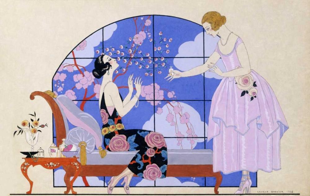 konfigurieren des Kunstdrucks in Wunschgröße Two Ladies In a Salon von Barbier, Georges