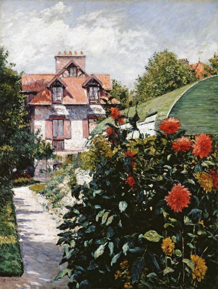 konfigurieren des Kunstdrucks in Wunschgröße The Dahlias, Petit Gennevilliers Garden von Caillebotte, Gustave
