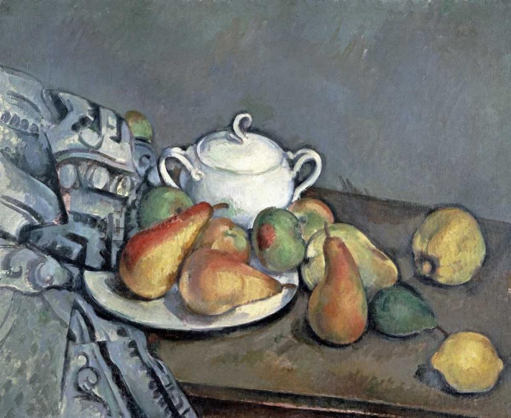 konfigurieren des Kunstdrucks in Wunschgröße Sugar Bowl, Pears and Curtain von Cezanne, Paul