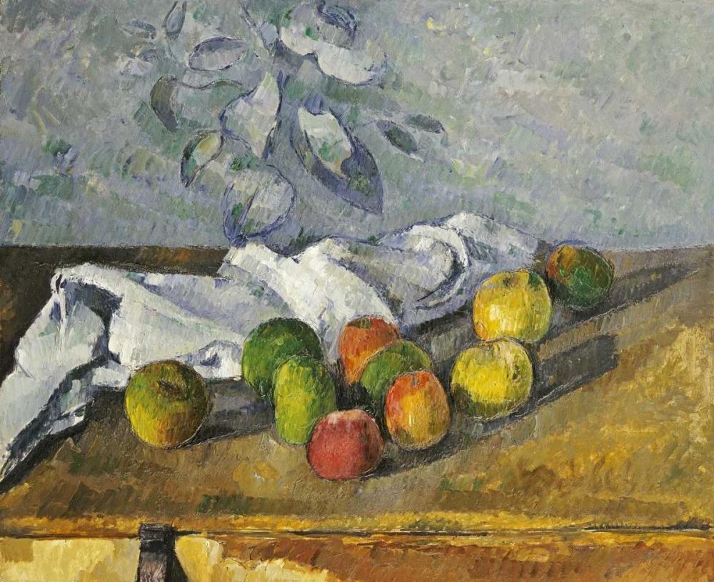 konfigurieren des Kunstdrucks in Wunschgröße Apples and a Napkin von Cezanne, Paul