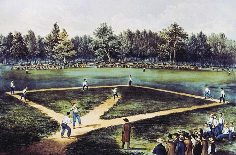 konfigurieren des Kunstdrucks in Wunschgröße The American National Game of Baseball at The Elysian Fields von Currier and Ives