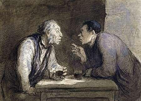 konfigurieren des Kunstdrucks in Wunschgröße Two Drinkers von Daumier, Honore