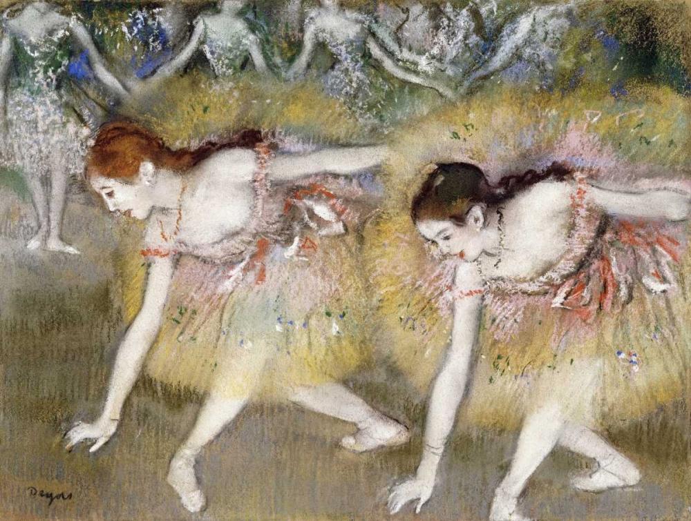 konfigurieren des Kunstdrucks in Wunschgröße Dancers Bending Down von Degas, Edgar