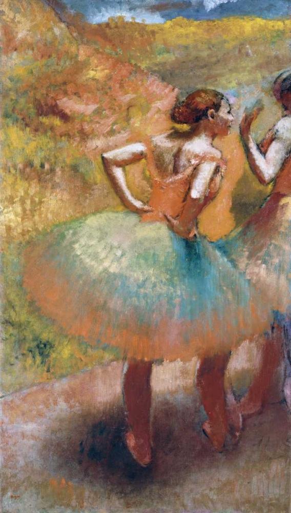 konfigurieren des Kunstdrucks in Wunschgröße Two Dancers In Green Skirts von Degas, Edgar
