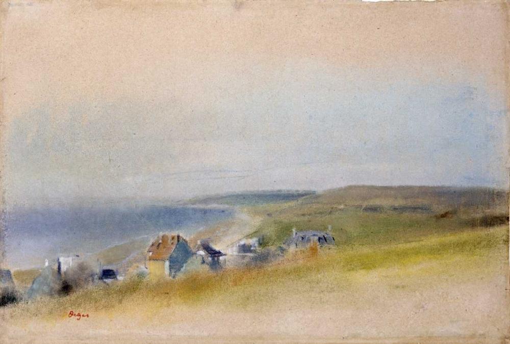 Houses On The Cliff Edge at Villers-Sur-Mer von Degas, Edgar <br> max. 97 x 66cm <br> Preis: ab 10€