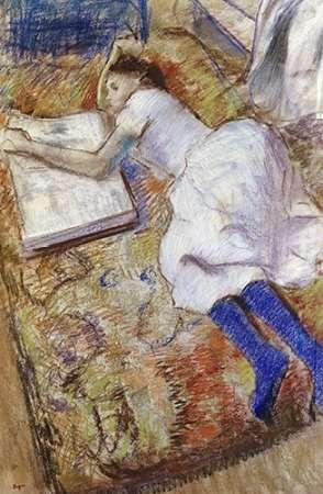 konfigurieren des Kunstdrucks in Wunschgröße A Young Girl Stretched Out and Looking at An Album von Degas, Edgar