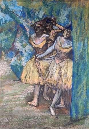 konfigurieren des Kunstdrucks in Wunschgröße Three Dancers, With a Backdrop of Trees and Rocks von Degas, Edgar