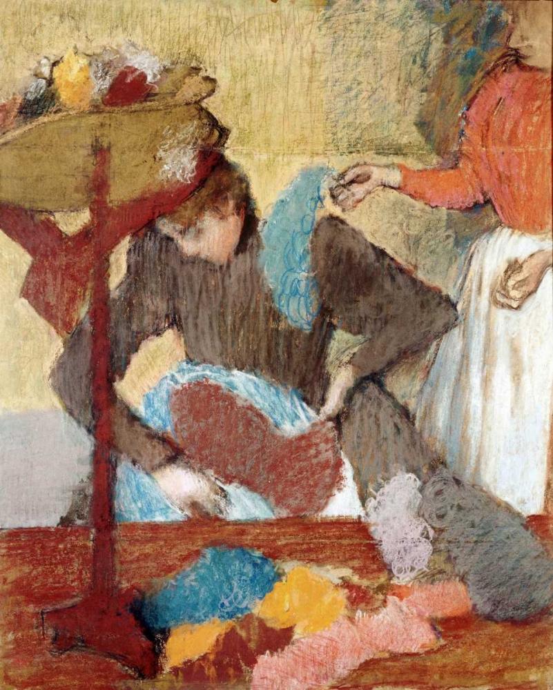 konfigurieren des Kunstdrucks in Wunschgröße The Hatmaker von Degas, Edgar