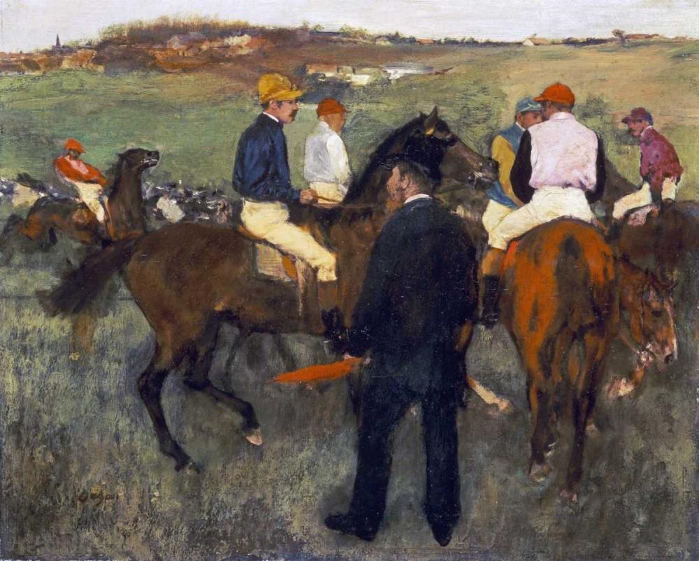 konfigurieren des Kunstdrucks in Wunschgröße Racehorses - Leaving The Weighing von Degas, Edgar