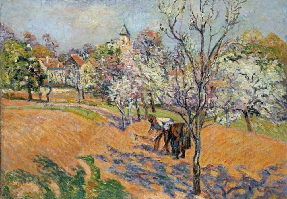 konfigurieren des Kunstdrucks in Wunschgröße Two Peasants Sowing Haricots In An Orchard In Blossom von Guillaumin, Armand