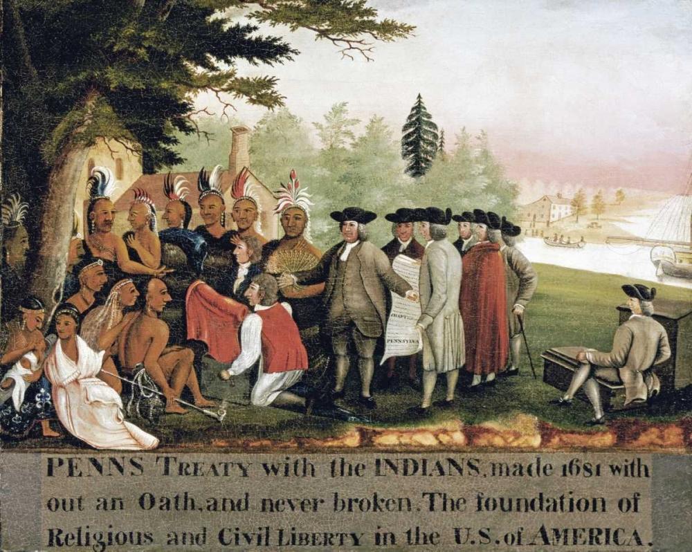 konfigurieren des Kunstdrucks in Wunschgröße Penns Treaty With The Indians von Hicks, Edward
