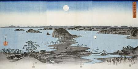 konfigurieren des Kunstdrucks in Wunschgröße Night View of Kanazawa In Musashi Province von Hiroshige