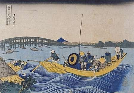 konfigurieren des Kunstdrucks in Wunschgröße View of The Evening Glow at Ryogoku Bridge von Hokusai