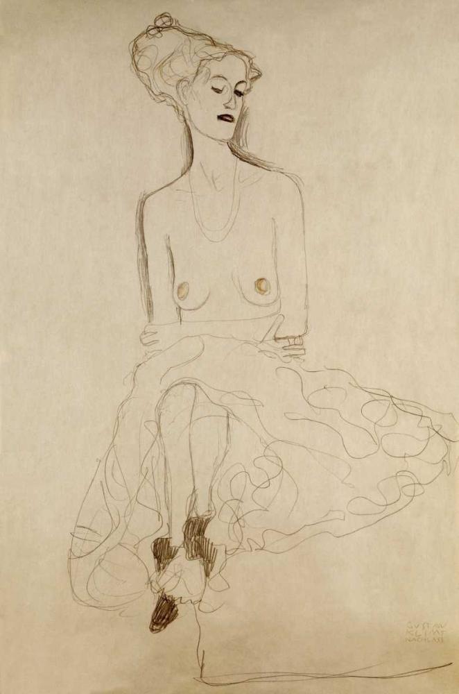 konfigurieren des Kunstdrucks in Wunschgröße Seated Woman von Klimt, Gustav