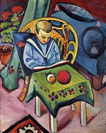 konfigurieren des Kunstdrucks in Wunschgröße A Young Boy With Books and Toys von Macke, August