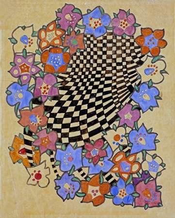 konfigurieren des Kunstdrucks in Wunschgröße Floral and Chequered Fabric Design, Circa 1916 von Mackintosh, Charles Rennie