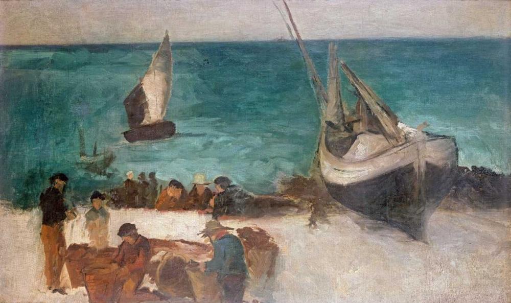 konfigurieren des Kunstdrucks in Wunschgröße Seascape at Berck; Fishing Boats and Fishermen von Manet, Edouard