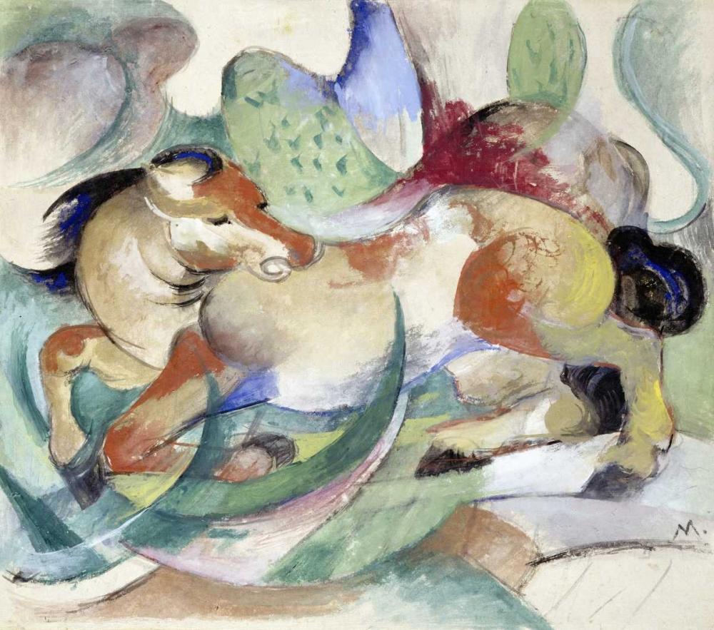 konfigurieren des Kunstdrucks in Wunschgröße Jumping Horse von Marc, Franz