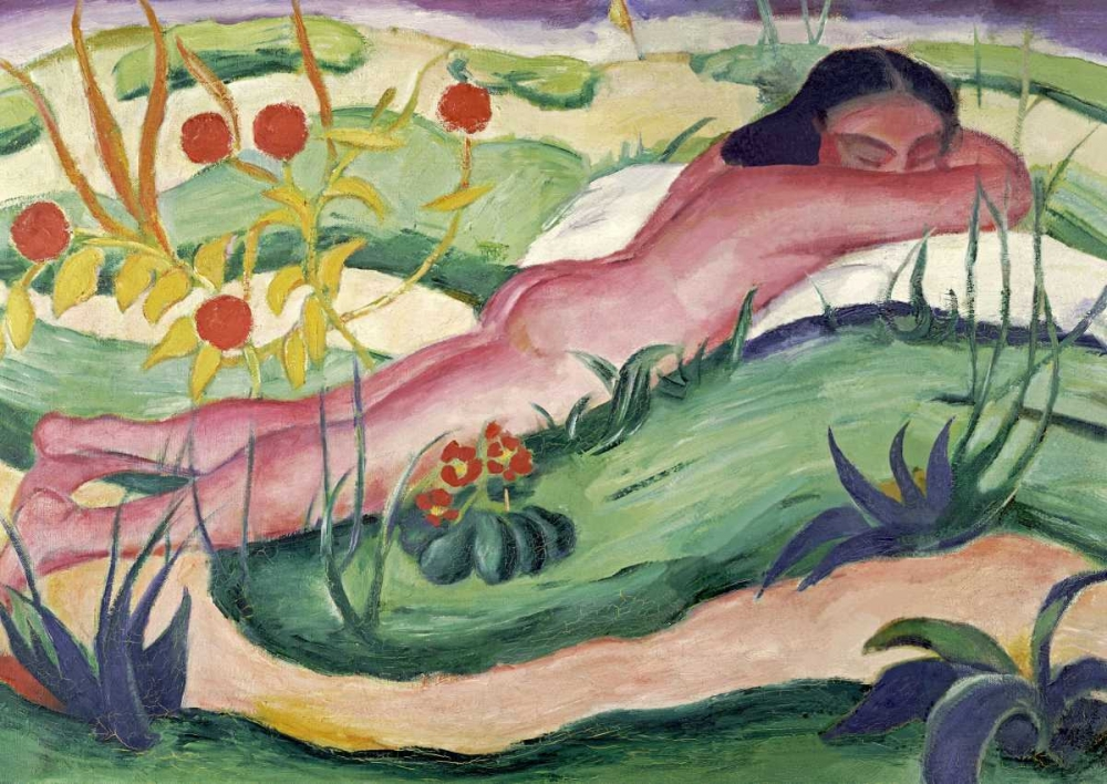 Nude Lying In The Flowers von Marc, Franz <br> max. 89 x 64cm <br> Preis: ab 10€