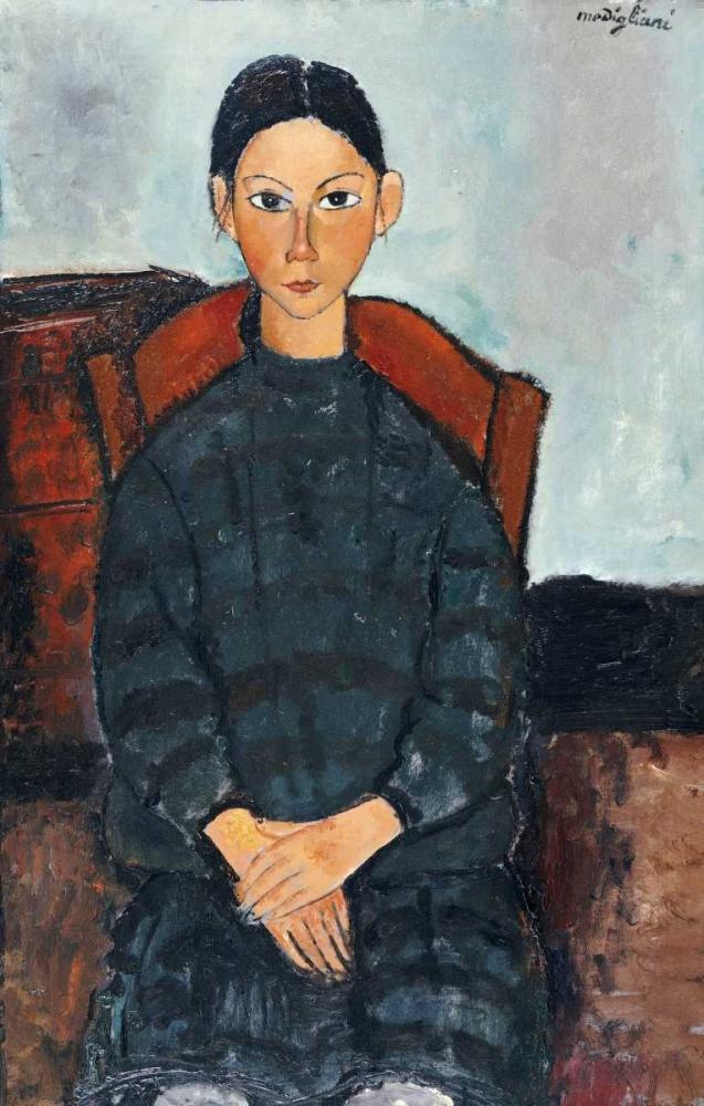 konfigurieren des Kunstdrucks in Wunschgröße Young Girl With a Black Apron von Modigliani, Amedeo