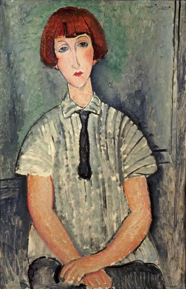 konfigurieren des Kunstdrucks in Wunschgröße Young Girl In a Striped Shirt von Modigliani, Amedeo