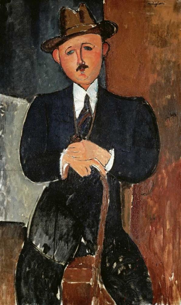 konfigurieren des Kunstdrucks in Wunschgröße Seated Man - Leaning On a Cane von Modigliani, Amedeo