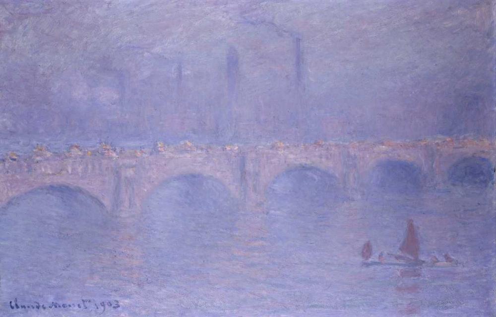 konfigurieren des Kunstdrucks in Wunschgröße Waterloo Bridge, Misty Sunshine von Monet, Claude