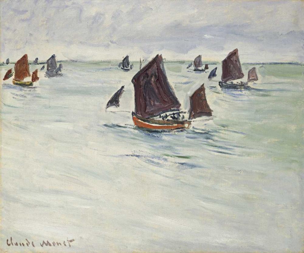 konfigurieren des Kunstdrucks in Wunschgröße Fishing Boats off Pourville, 1882 von Monet, Claude