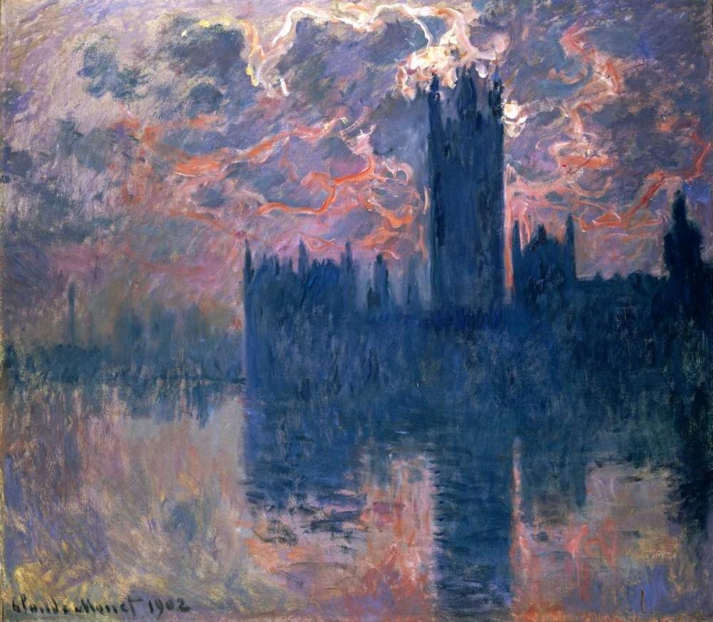 konfigurieren des Kunstdrucks in Wunschgröße Parliament, Sunset von Monet, Claude