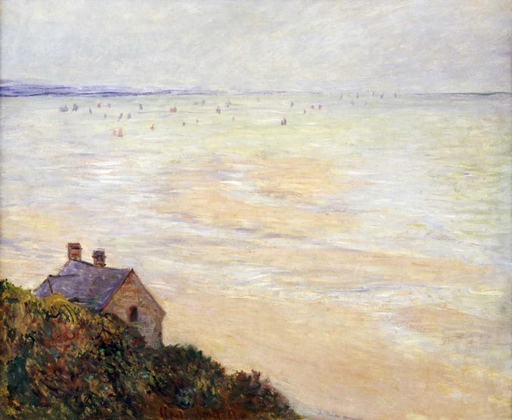 konfigurieren des Kunstdrucks in Wunschgröße The Hut at Trouville; Low Tide von Monet, Claude