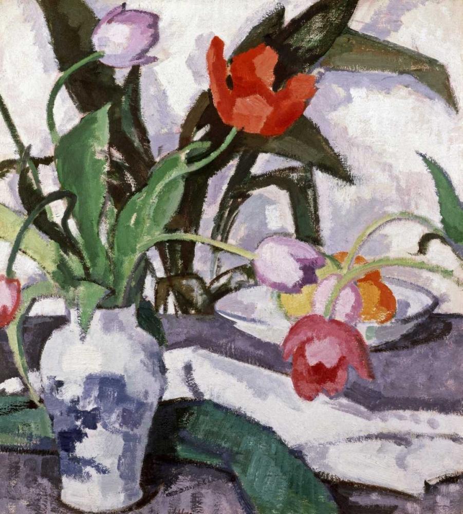konfigurieren des Kunstdrucks in Wunschgröße Red and Mauve Tulips In a Vase von Einzelbilder