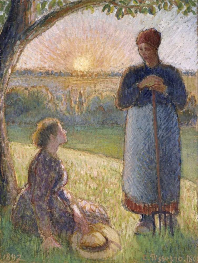 konfigurieren des Kunstdrucks in Wunschgröße Country Women Chatting, Sunset, Eragny von Pissarro, Camille