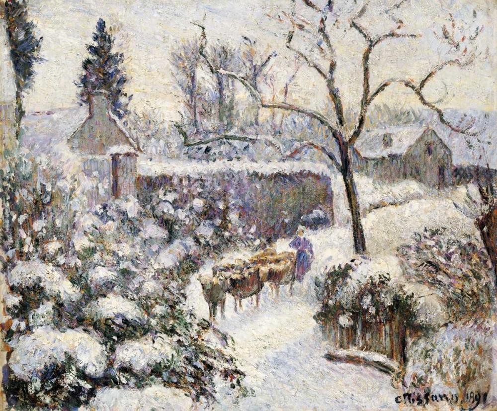 konfigurieren des Kunstdrucks in Wunschgröße Snow at Montfoucault von Pissarro, Camille